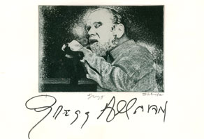 Gregg Allman autographed etching, 2010