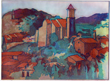 Three color etching, 'Provence Hillside', 1999